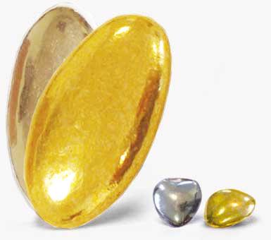 Dragées chocolats - Dragées et Petits cœurs argentés ou dorés