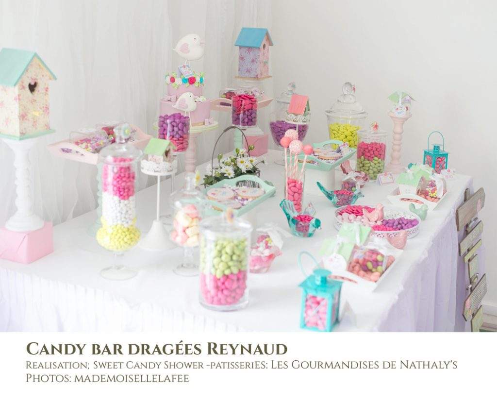 candy bar baby shower ou bapt me fille des id es drag es reynaud. Black Bedroom Furniture Sets. Home Design Ideas
